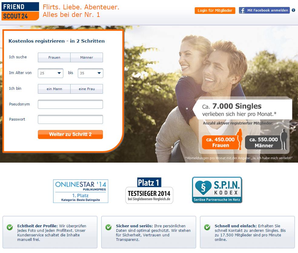 Singlebörse FriendScout24 (Screenshot vom Februar 2015)