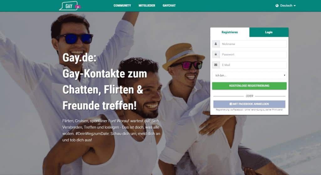 Gay.de – Große Gay-Community für Freundschaften, Beziehung & Sexkontakte