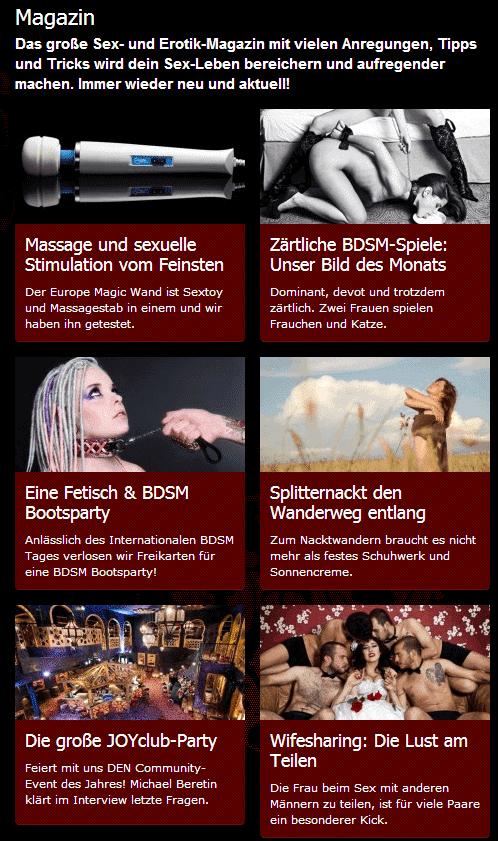 Screenshot: Das JOYclub Magazin