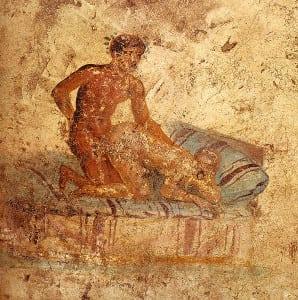 A Tergo (Sex von hinten) -  Romanisches Fresko aus dem Casa del Ristorante in Pompeii (ca. 62-79 n.Chr.)