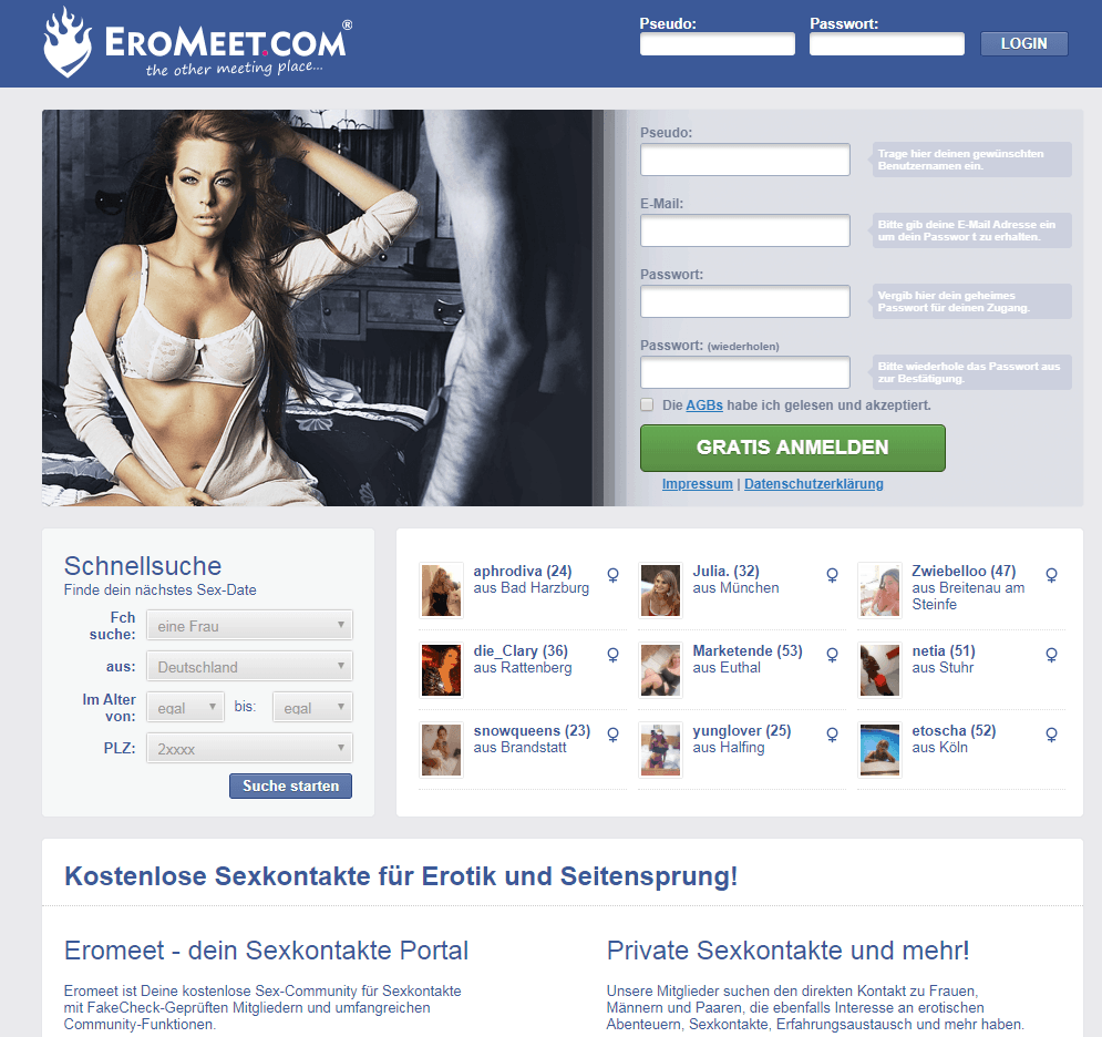 Eromeet – 100% kostenlose Sexbörse