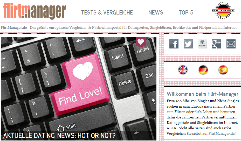 Europäisches Vergleichs- und Nachrichtenportal für Online Dating Themen