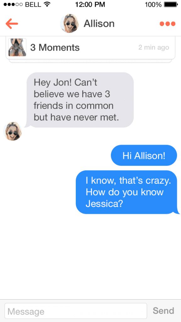 Tinder Chat Ansicht