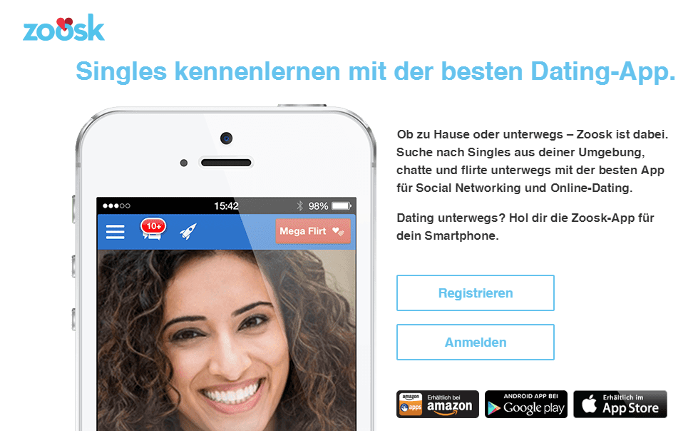 Dating Plattform Zoosk (Screenshot vom Februar 2015)