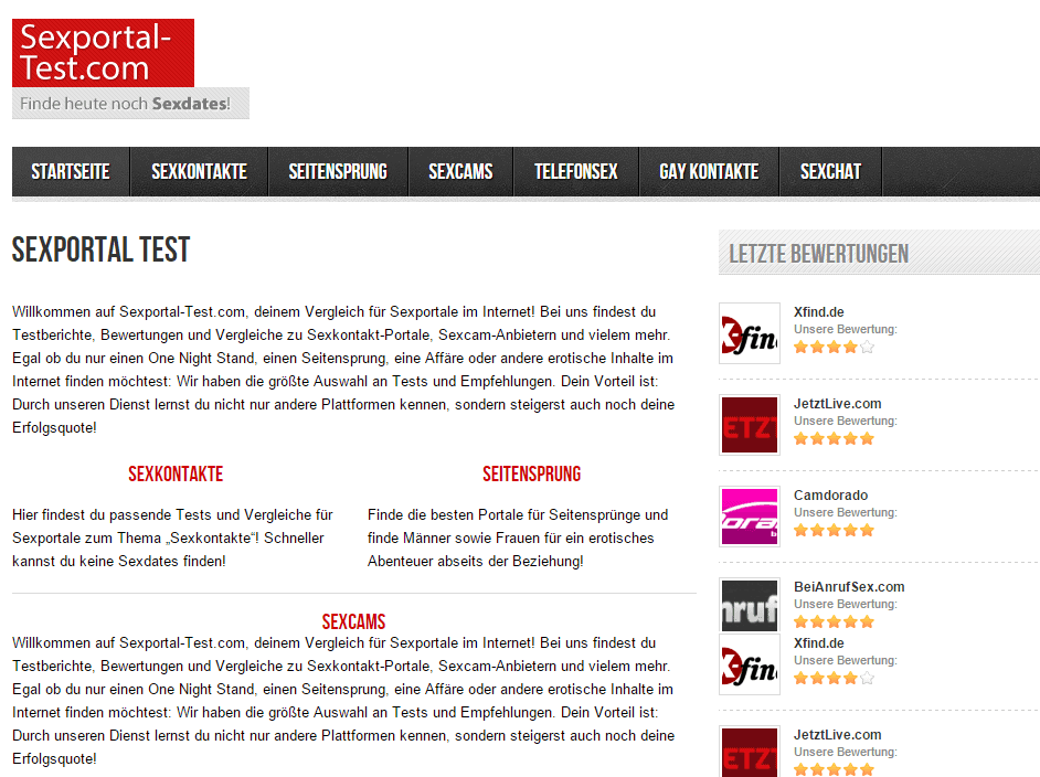 sexportal-test.com (Screenshot vom Januar 2016)