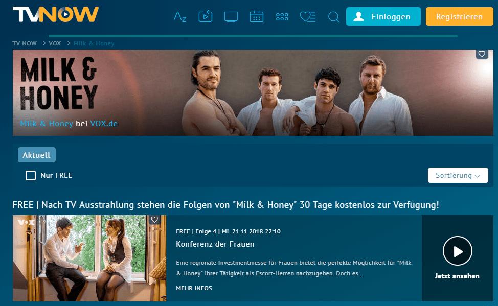 Die TV Serie Milk & Honey in der Mediathek von TVNOW